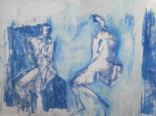 Blue Talk, 2014, mixed media