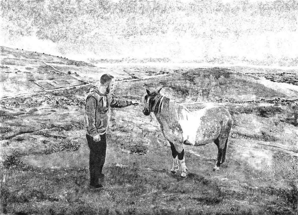 Thomas and Pony, 2015, monoprint